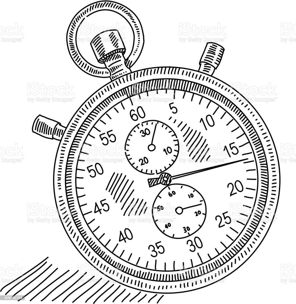 Stopwatch Drawing vector art illustration