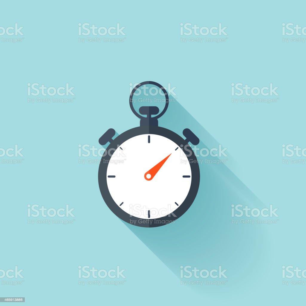 Stopwatch flat icon vector art illustration