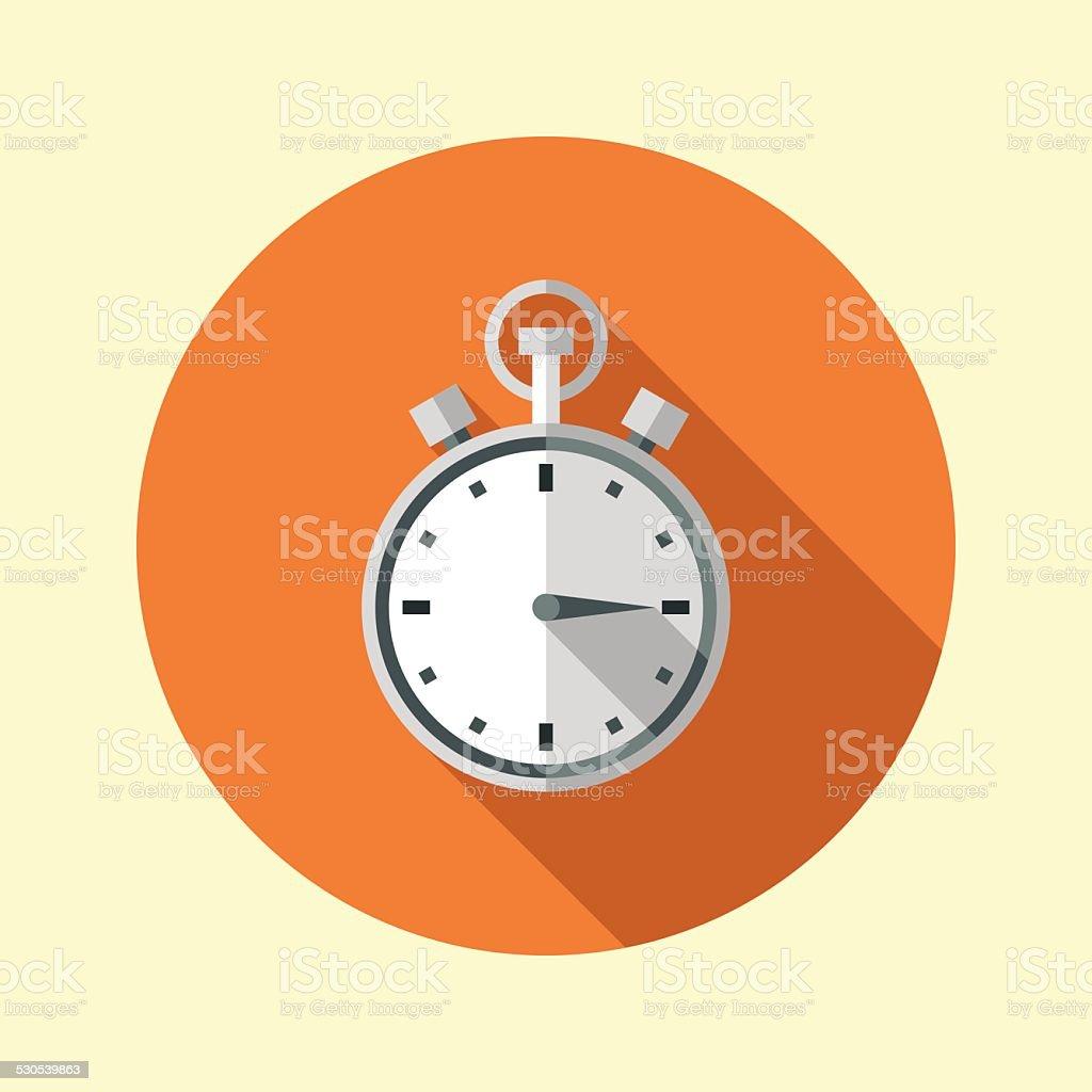 Stopwatch icon. Long shadow flat design. Vector illustration. vector art illustration
