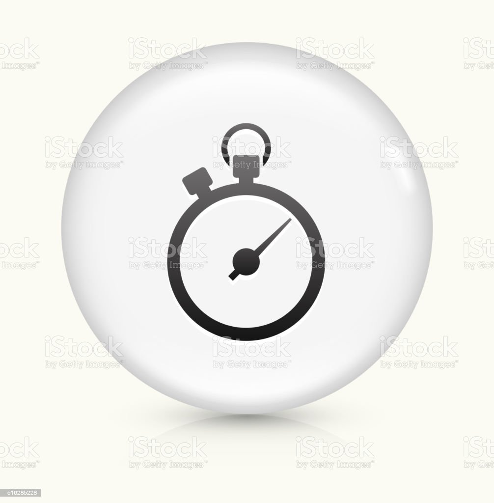 Stopwatch icon on white round vector button vector art illustration