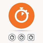 Stopwatch icon. Timer or clock device sign.