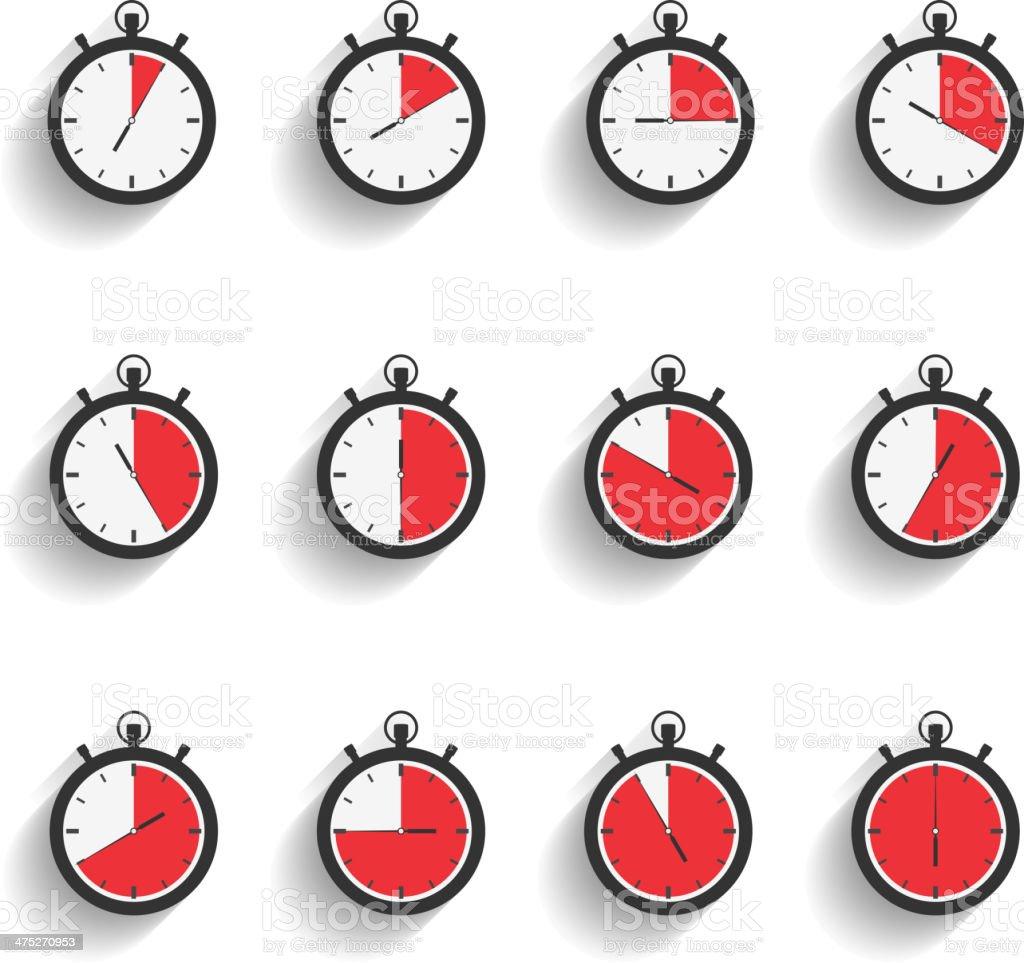 Stopwatch Icons vector art illustration