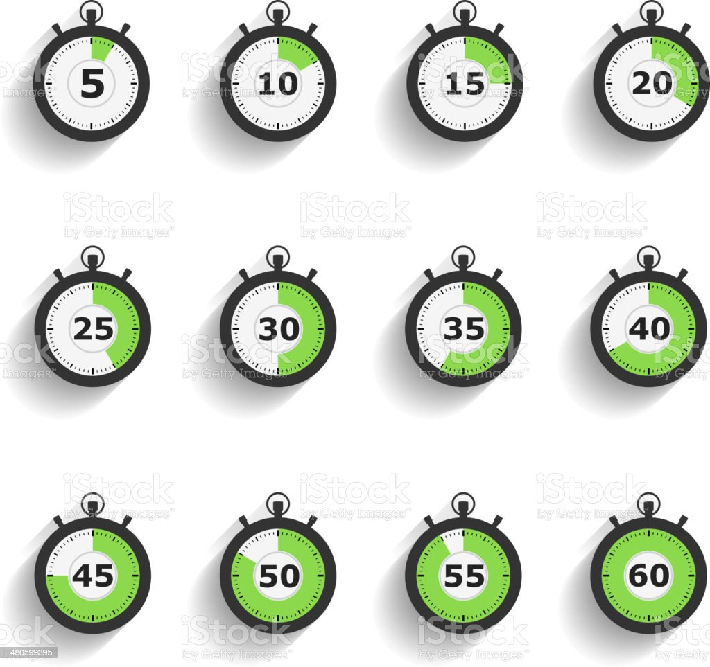 Stopwatch Icons vector art illustration
