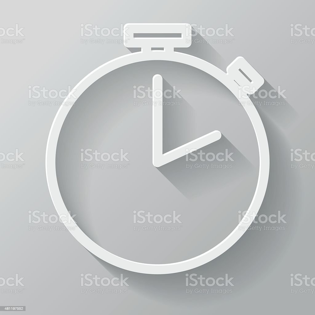 Stopwatch Paper Thin Line Interface Icon With Long Shadow vector art illustration