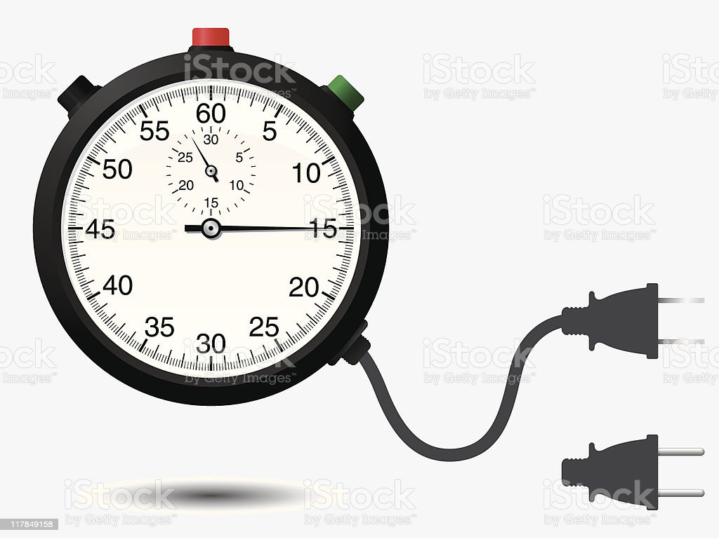 Stopwatch with connector plug royalty-free stock vector art