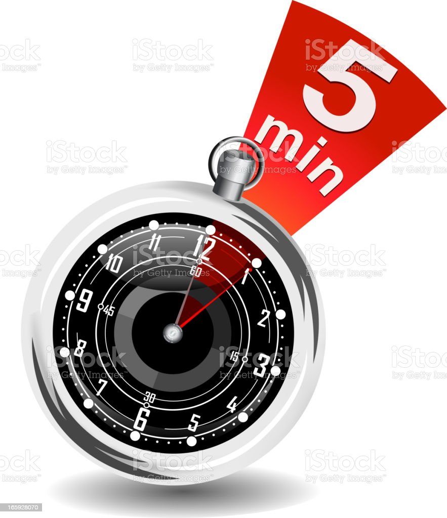 A stopwatch with five minutes highlighted vector art illustration