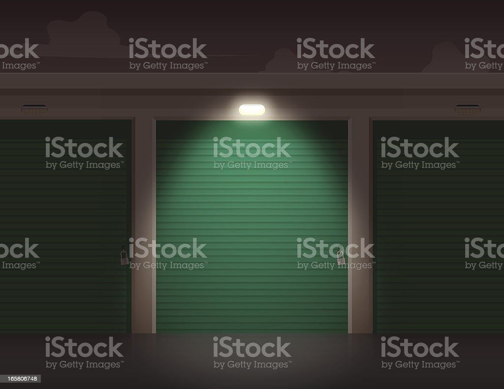 Storage At Night vector art illustration