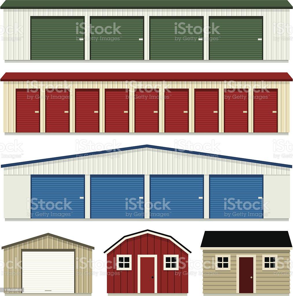 Storage Buildings vector art illustration