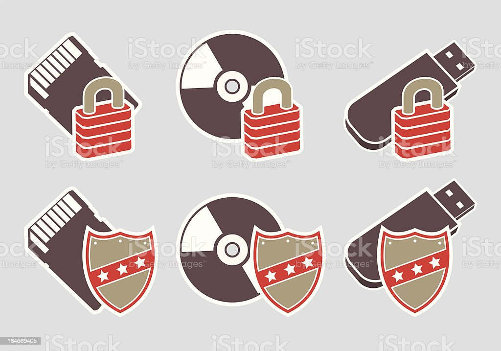 Storage Media Protection Icons royalty-free stock vector art