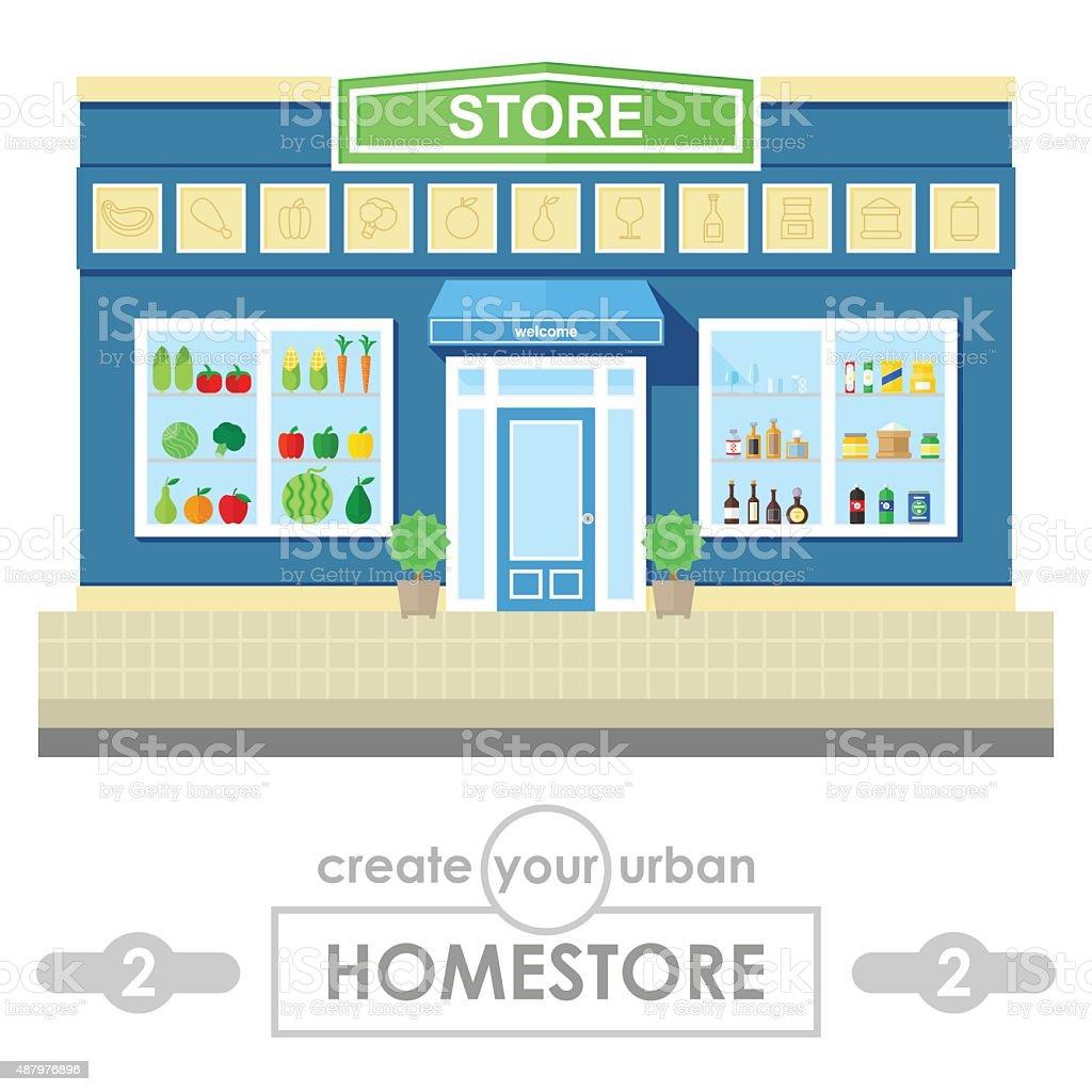store building flat vector design vector art illustration