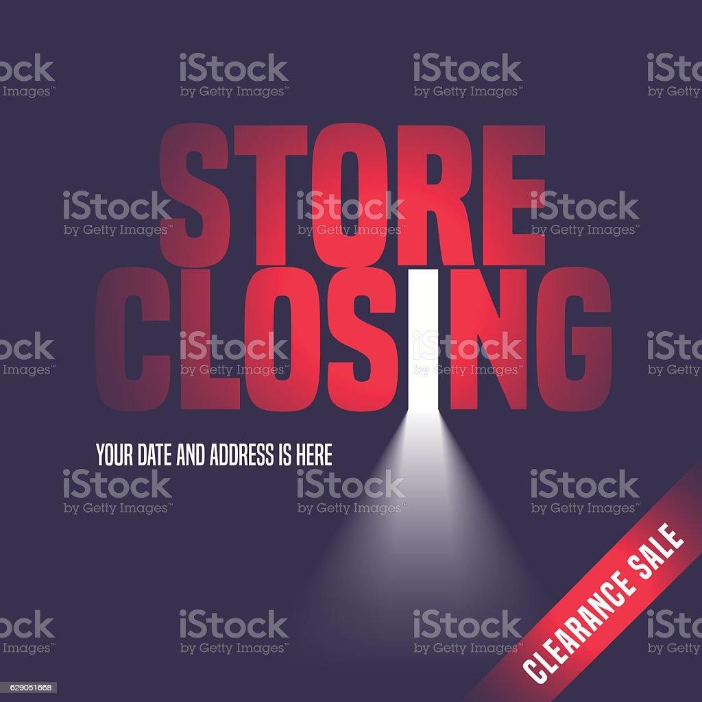 Store closing sale vector illustration, background with open door vector art illustration