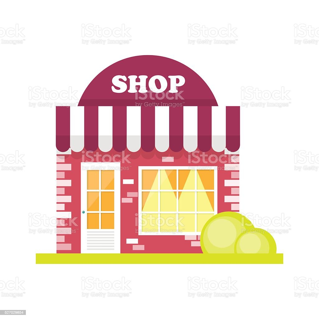 Store front window concept vector art illustration