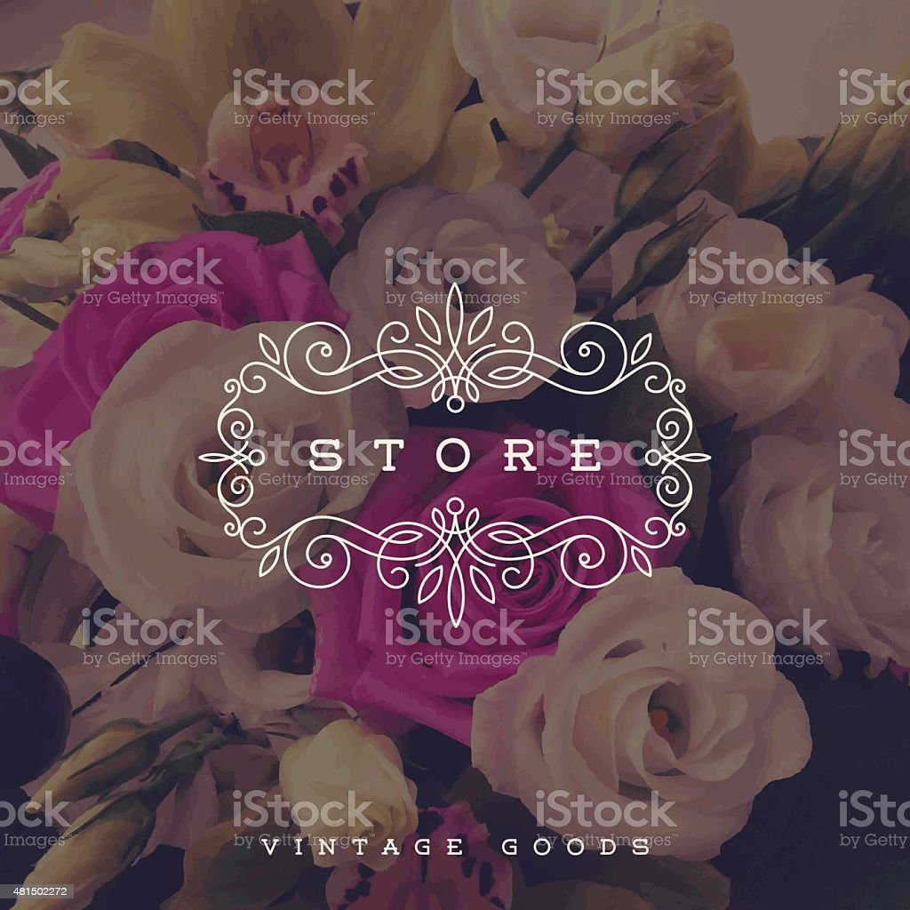 Store logo template with flourishes frame on a flowers background vector art illustration