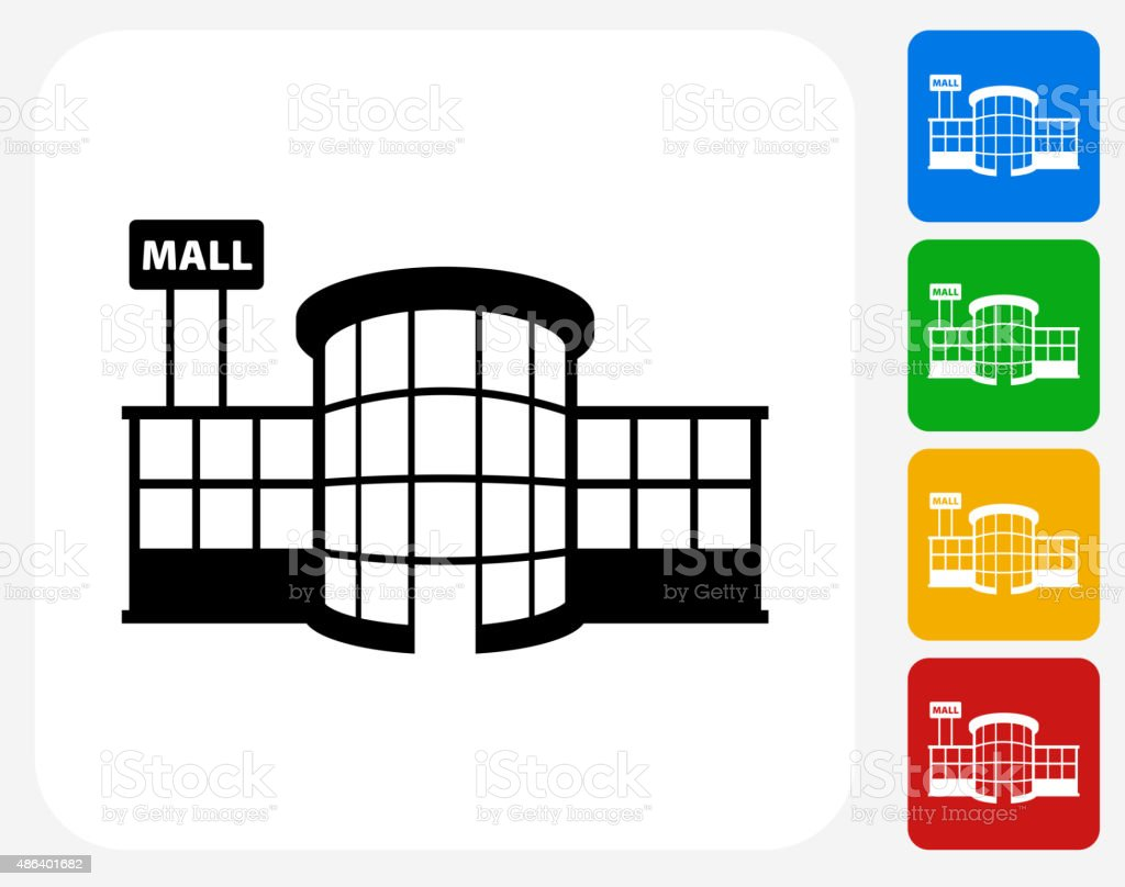 Store Plaza Icon Flat Graphic Design vector art illustration
