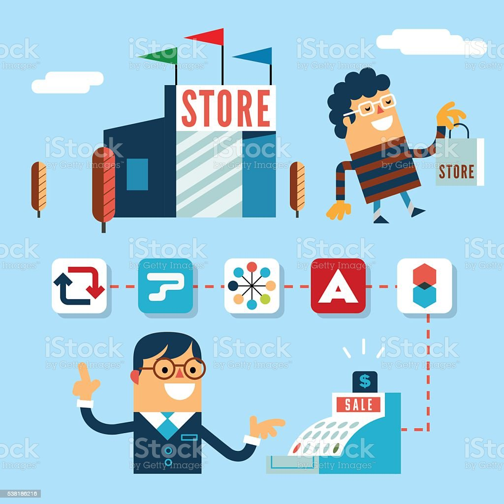 Store sales through apps vector art illustration