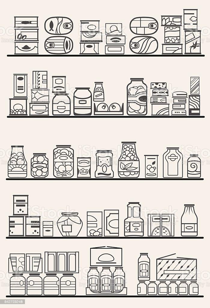 store shelves with goods vector art illustration
