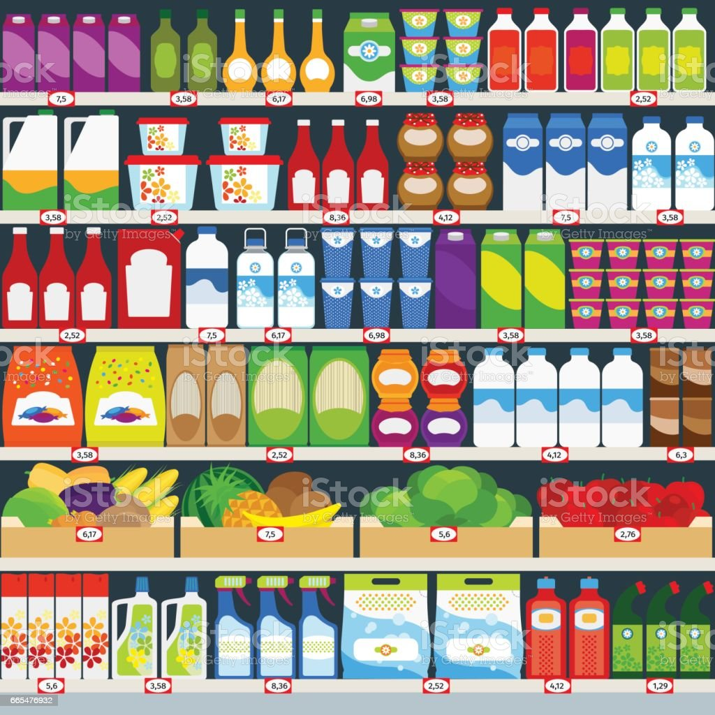 Store shelves with groceries background vector art illustration