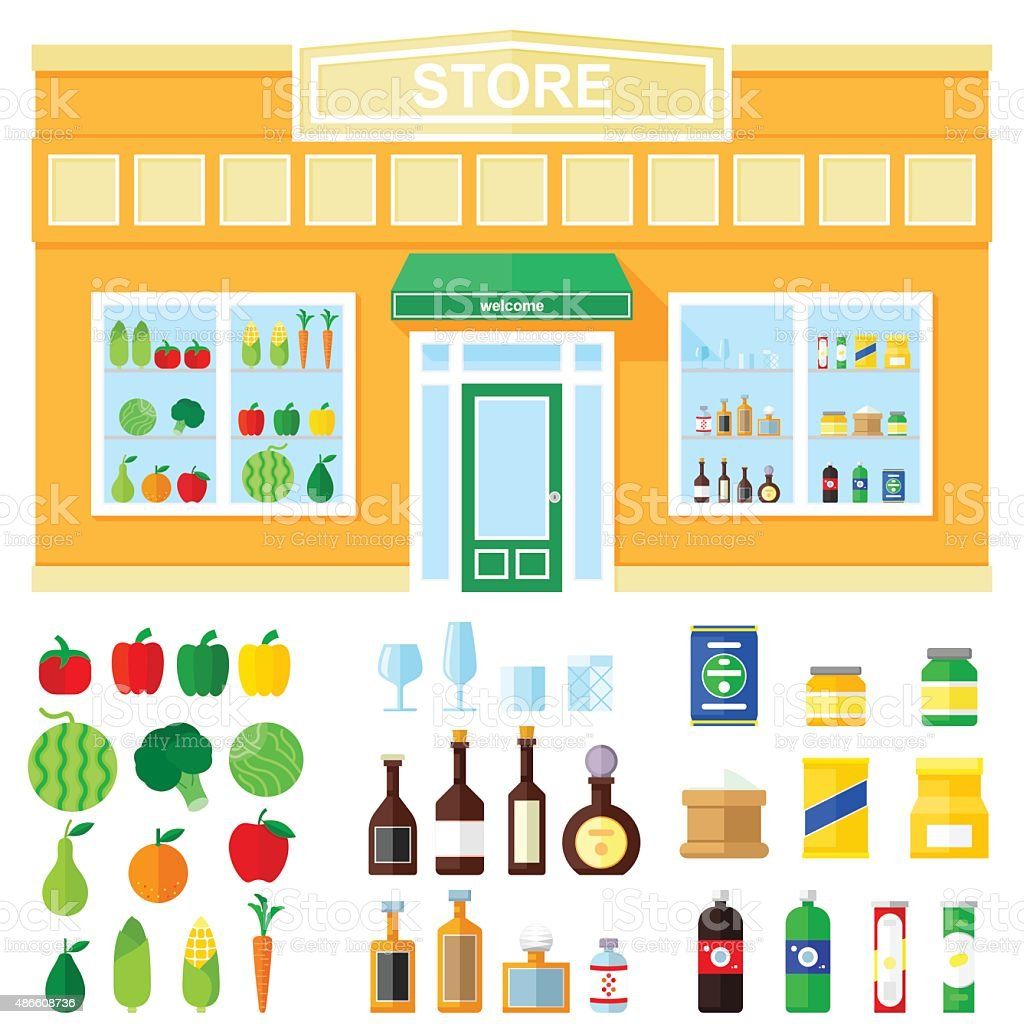 store showcase of food and drink. vector art illustration