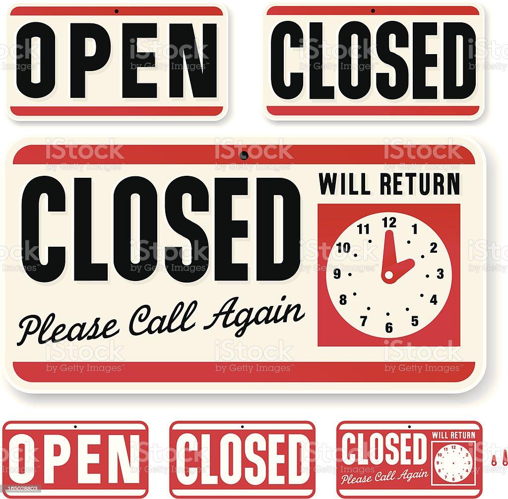 Store Sign: Open Closed Will Return vector art illustration