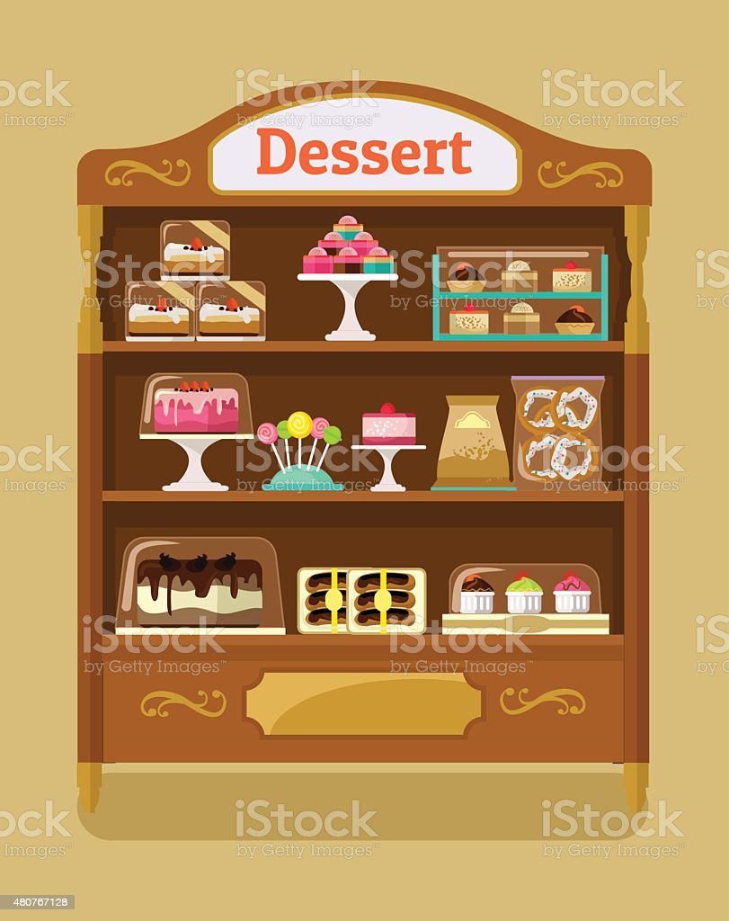 Store sweets. Vector flat illustration vector art illustration