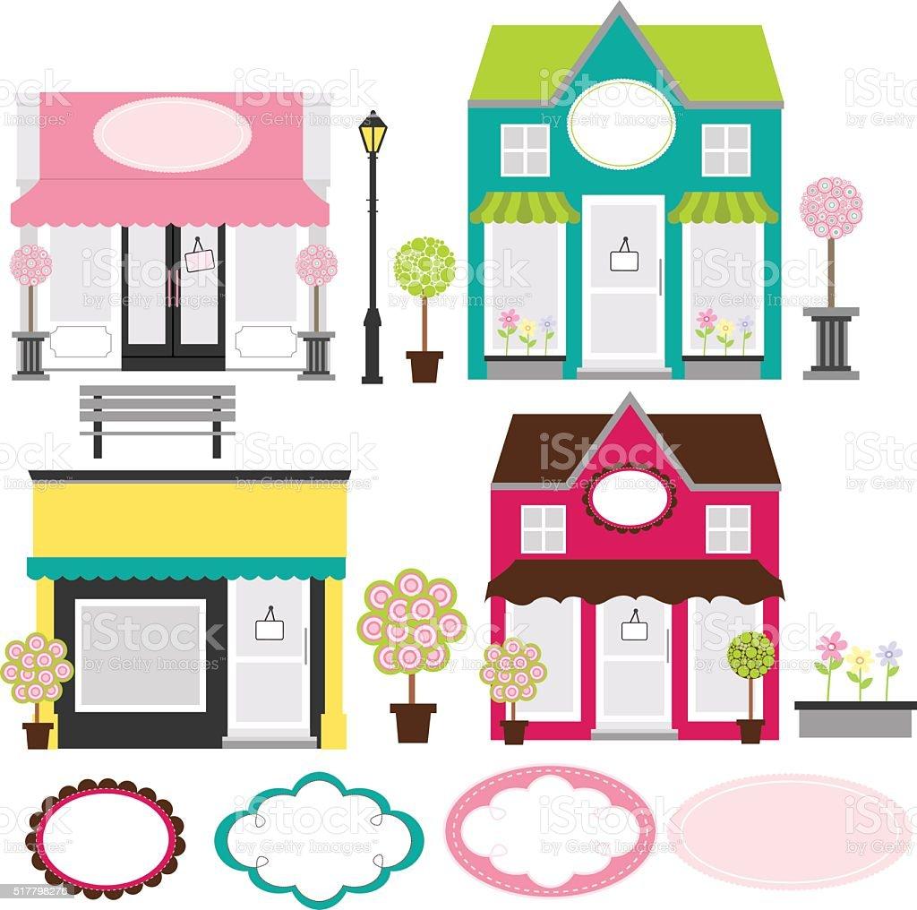Storefront Boutique Shop vector art illustration