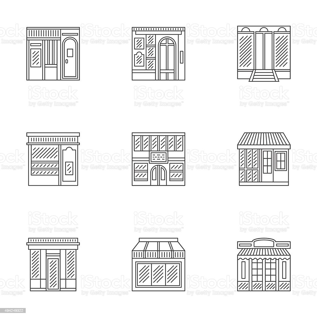 Storefronts linear icons vector collection vector art illustration