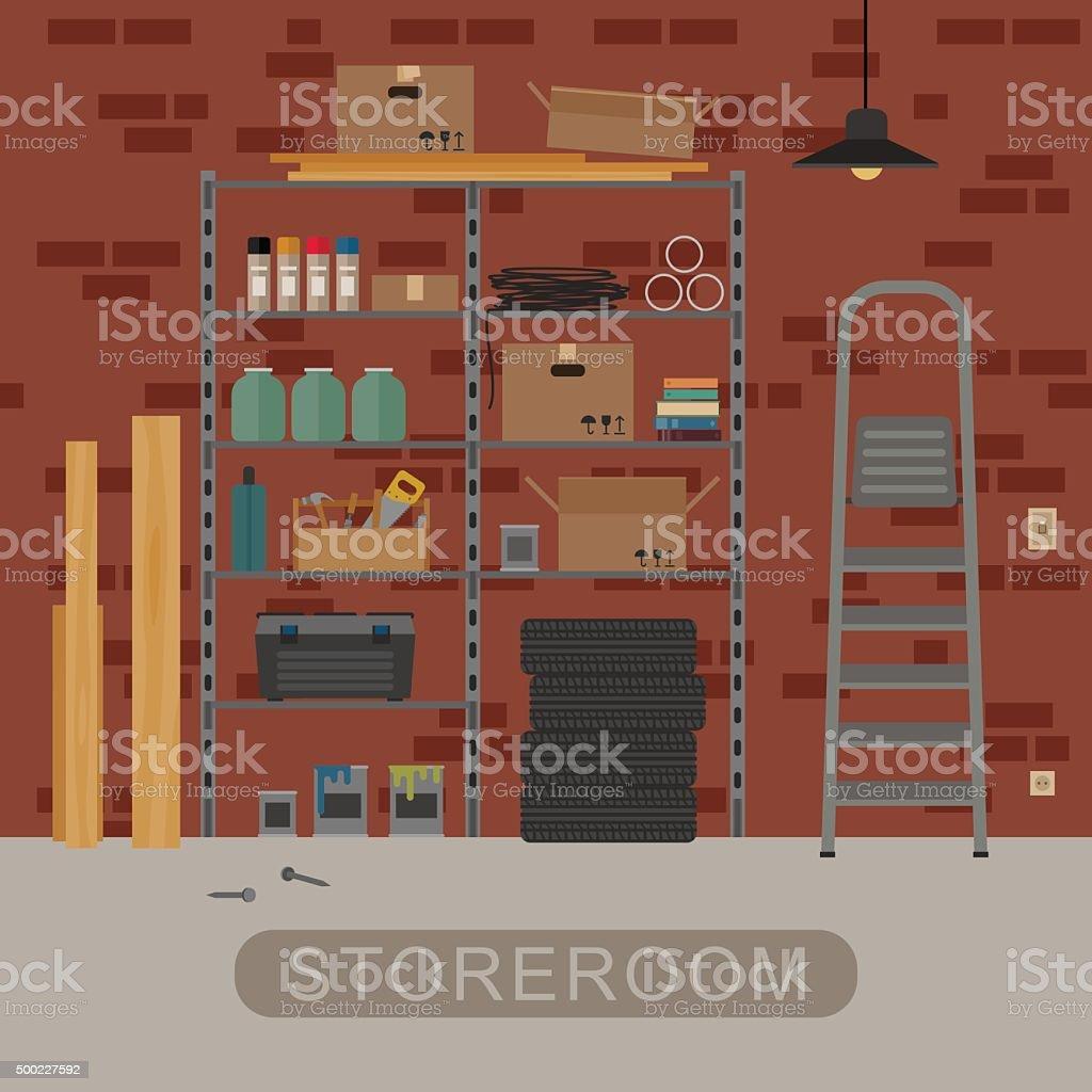 Storeroom interior with brickwall. vector art illustration