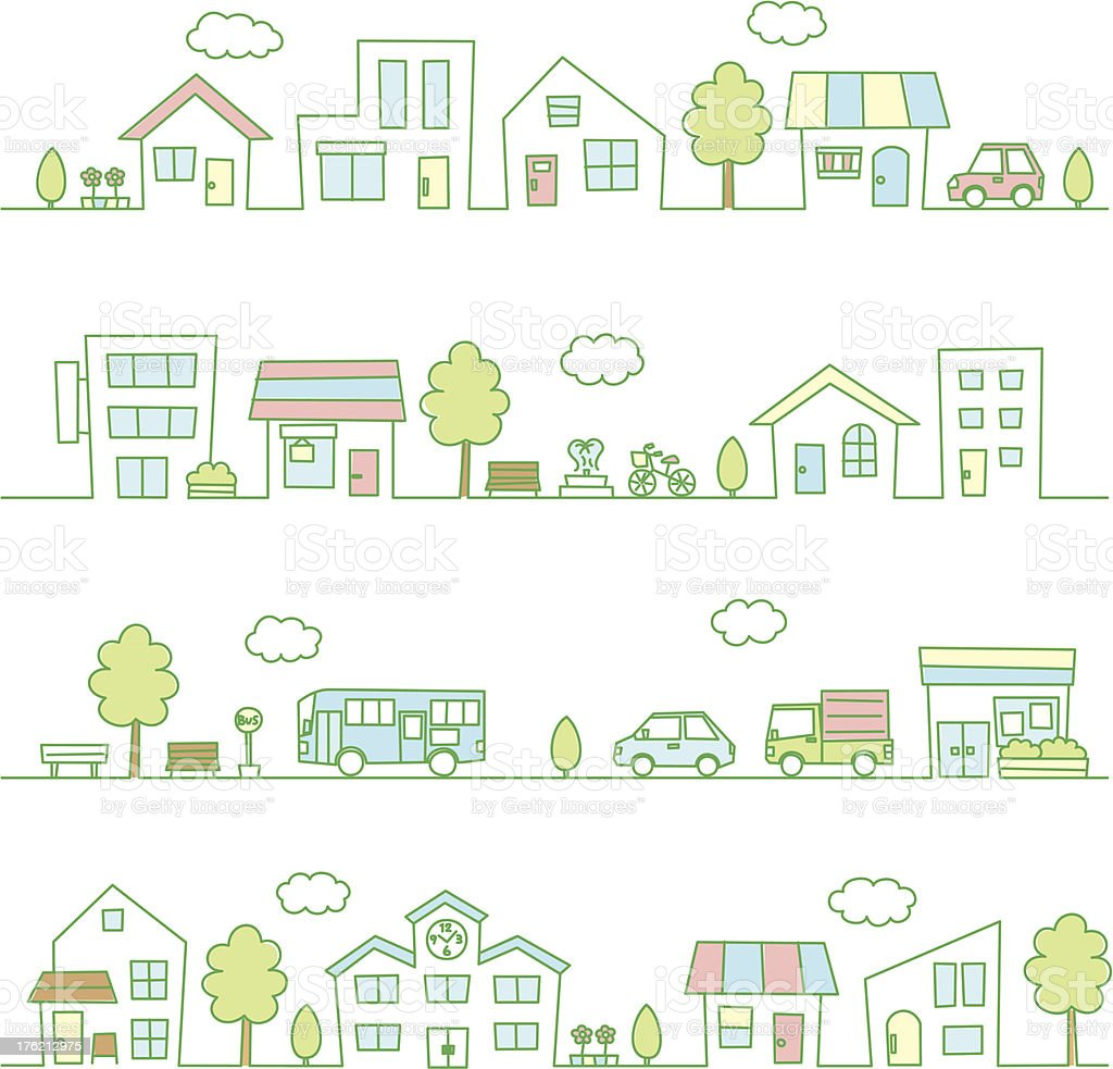 stores and houses on a street green color vector art illustration