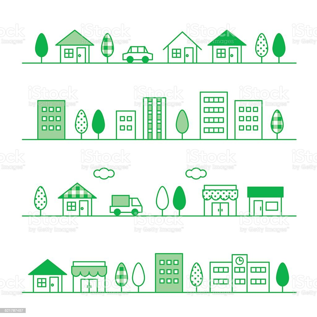 stores and houses on a street vector art illustration