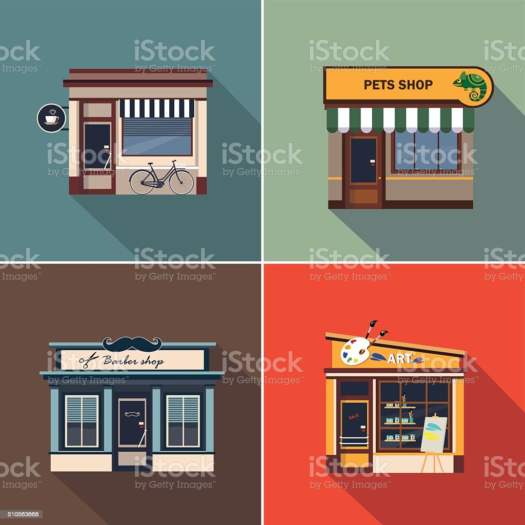 Stores and Shop Facades. Colourful Vector Illustration Set vector art illustration