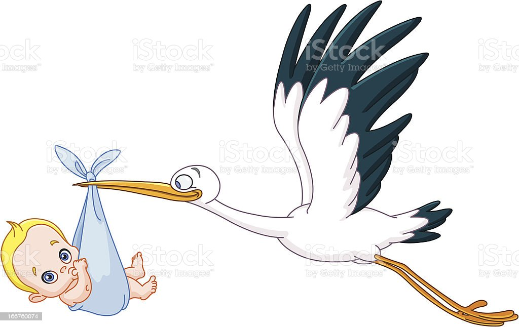 Stork and baby boy royalty-free stock vector art