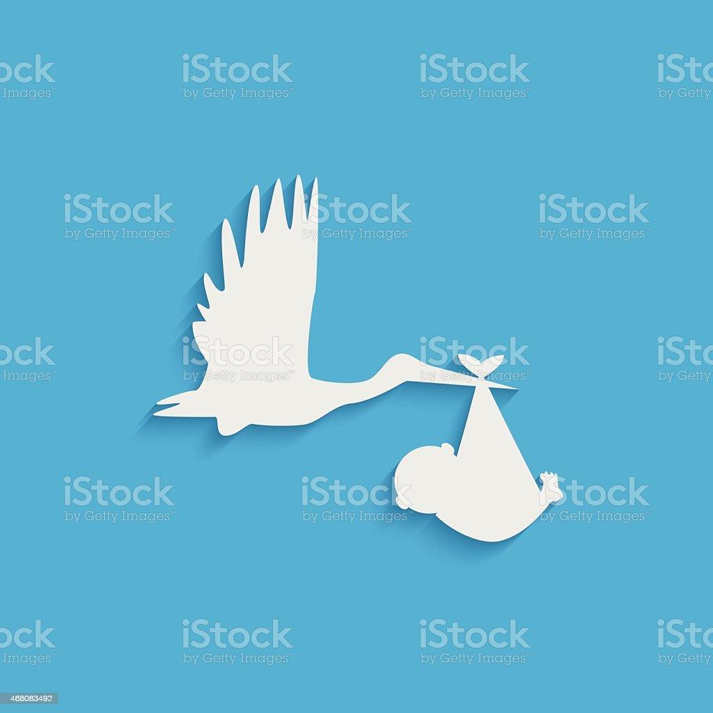 Stork and Baby Illustration vector art illustration