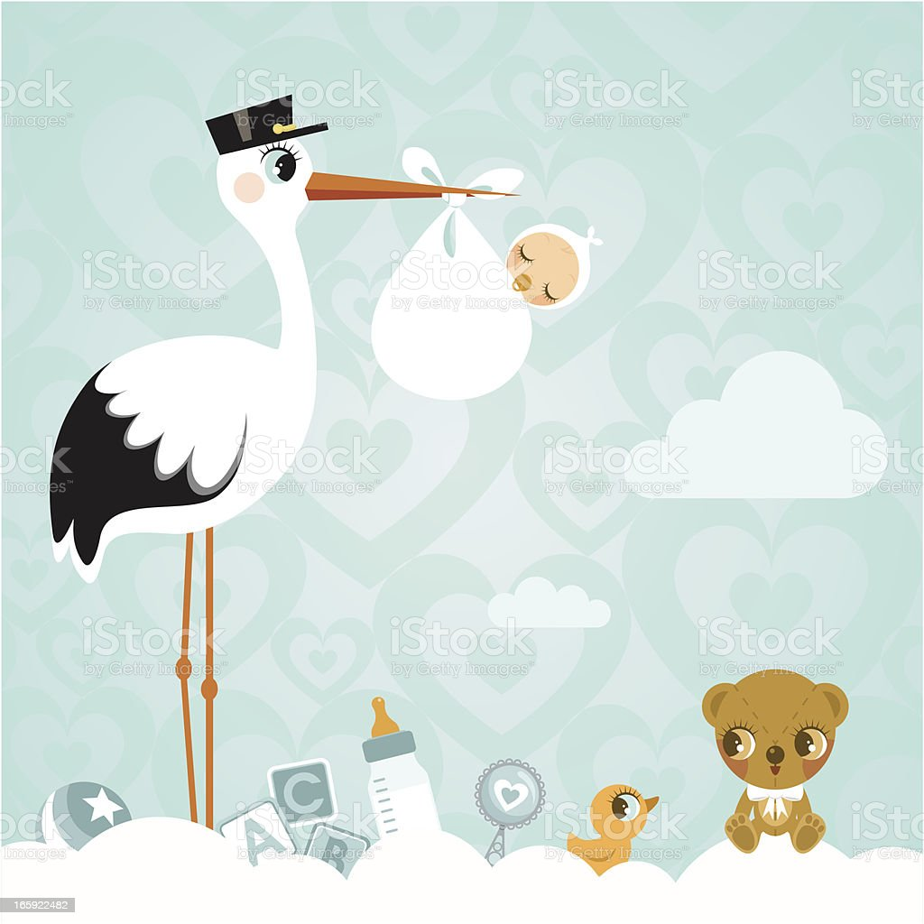 Stork and baby. Newborn babyshower cloud cute invitation vector art illustration