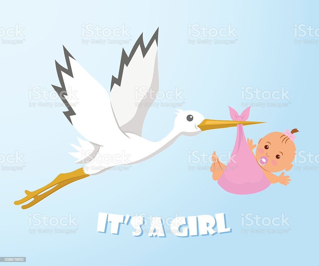 Stork and baby. Stork carries a baby in a diaper. vector art illustration