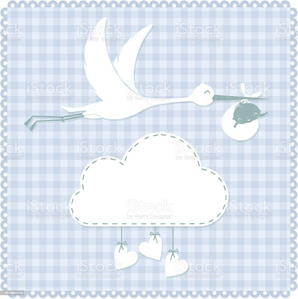 Stork and baby vector art illustration