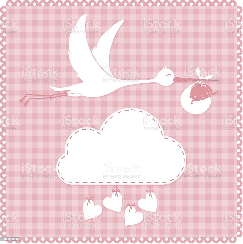 Stork and baby royalty-free stock vector art