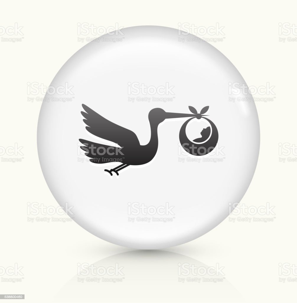 Stork and Newborn icon on white round vector button vector art illustration