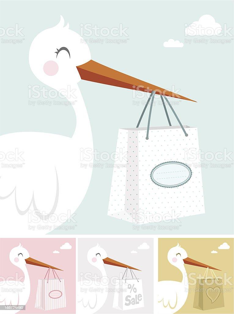 Stork and shopping bag vector art illustration
