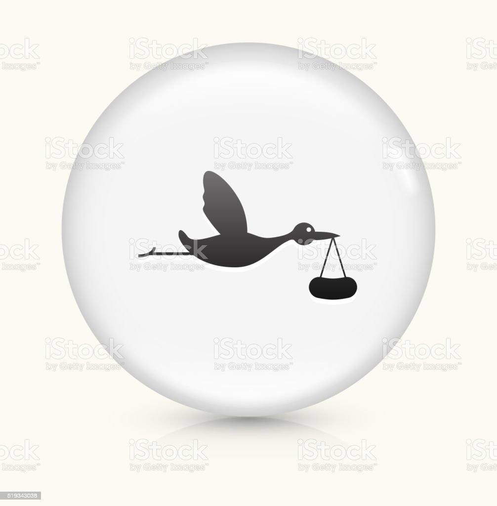 Stork Brings Baby icon on white round vector button vector art illustration