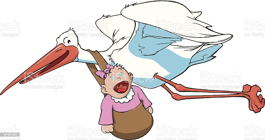 stork carrying a baby royalty-free stock vector art