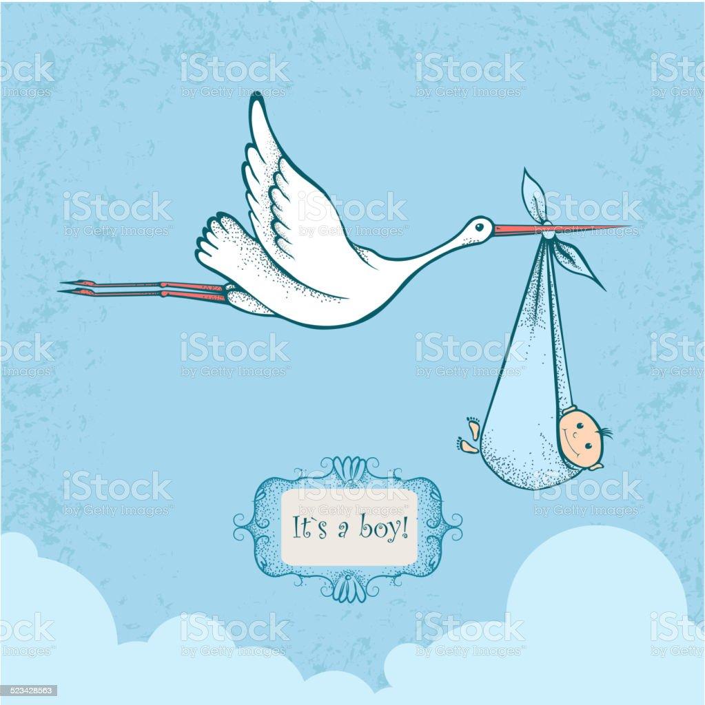 Stork carrying a newborn baby vector art illustration