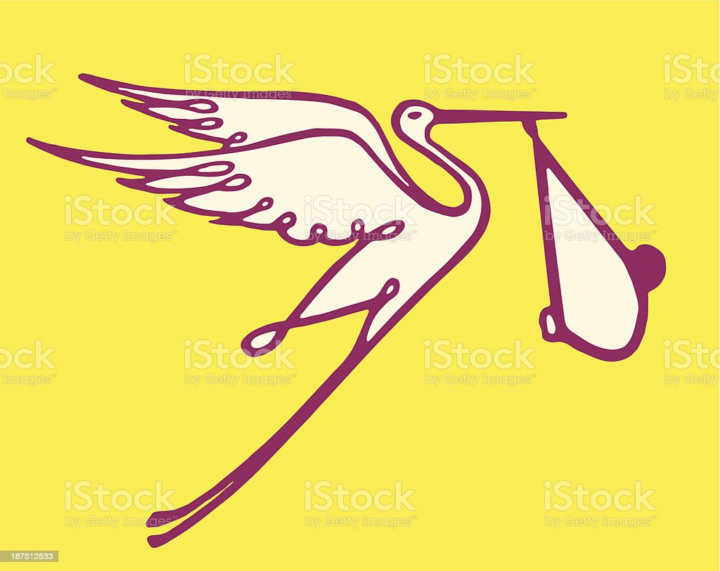 Stork Carrying Wrapped Baby royalty-free stock vector art