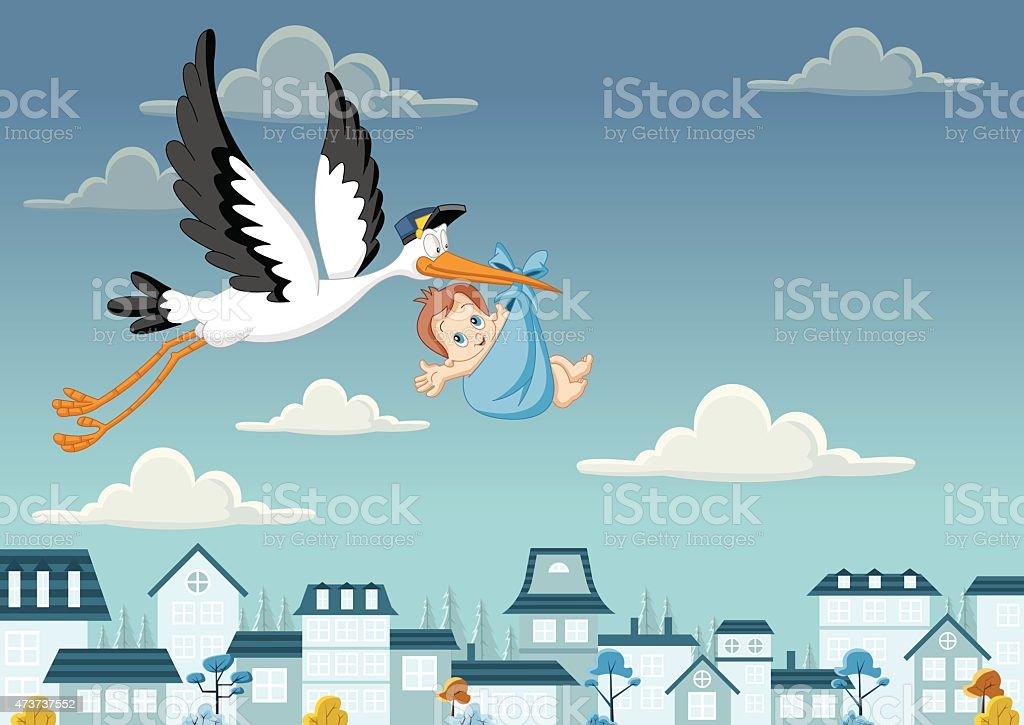 stork delivering a baby boy vector art illustration