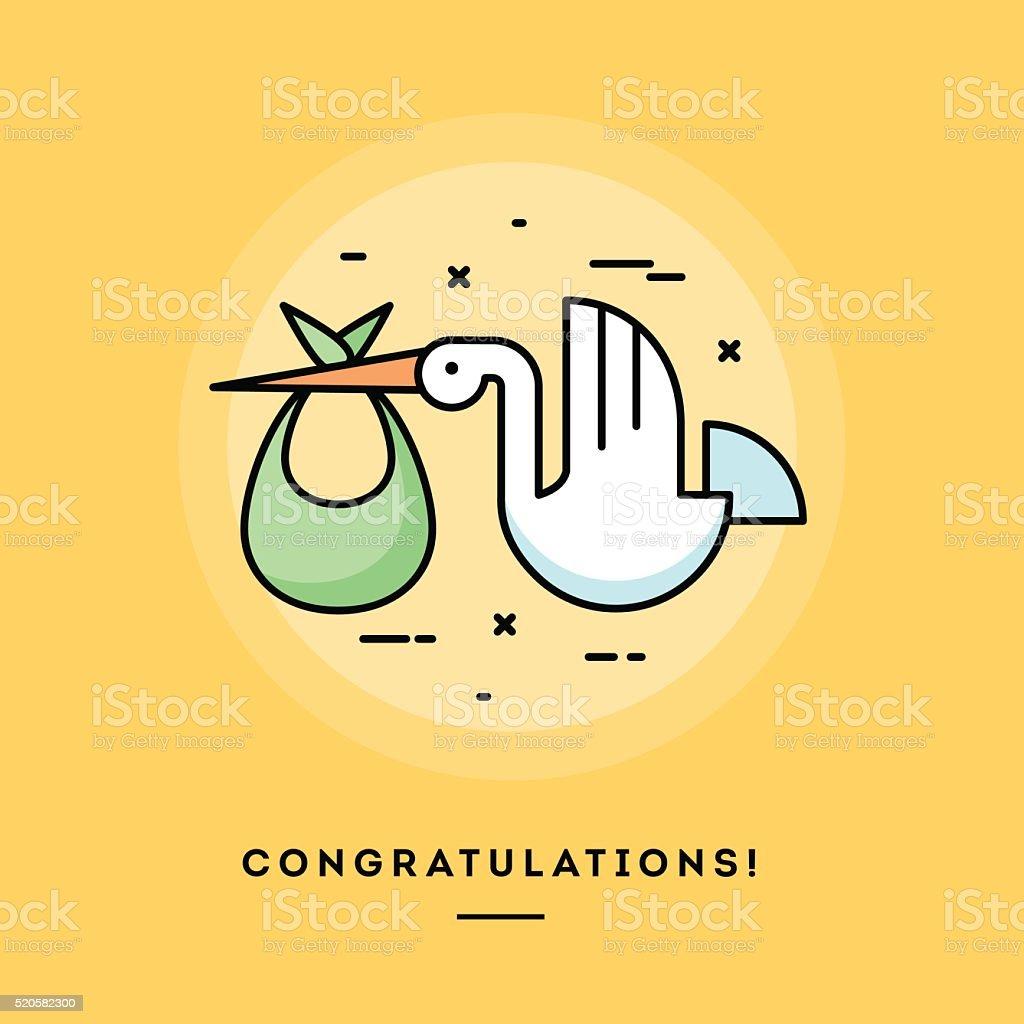 Stork delivering a baby, flat design thin line banner vector art illustration