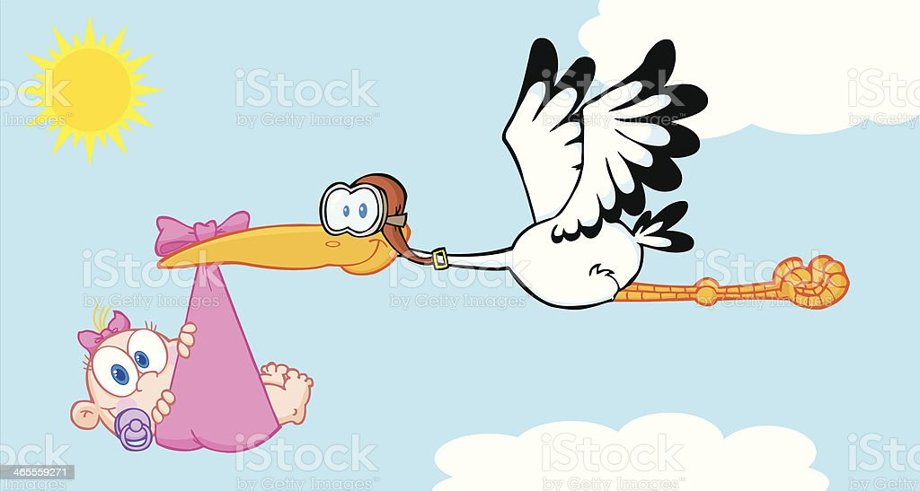 Stork Delivering A Newborn Baby Girl With Background royalty-free stock vector art