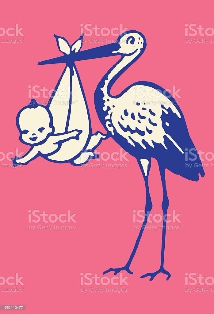 Stork Delivering Baby vector art illustration