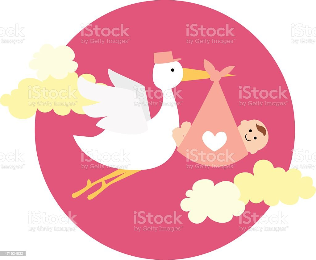stork delivering newborn baby girl vector art illustration