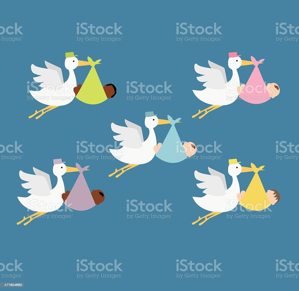 stork delivering newborn baby vector art illustration