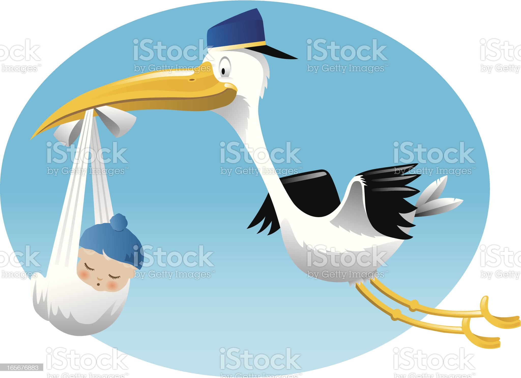 Stork Delivers Baby Boy royalty-free stock vector art