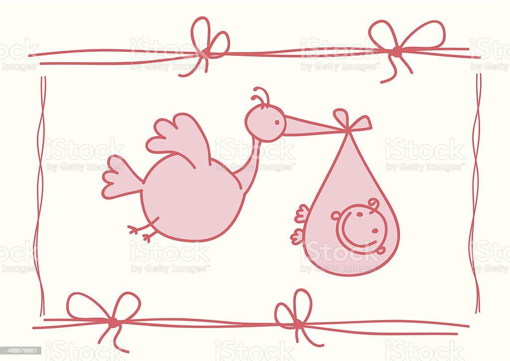 Stork delivery - Illustration vector art illustration